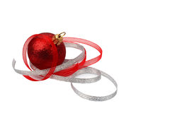Red Christmas-tree decoration. Isolated in white background Stock Image