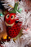 Red Christmas tree decoration in shape of strawberry in Old town Royalty Free Stock Photo