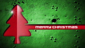 Red Christmas Tree on Grunge Background Stock Photos
