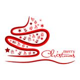 Red Christmas tree, Holiday background  on white background. EPS file available. see more images related Royalty Free Stock Images