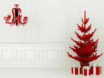 Red Christmas tree and lamp Royalty Free Stock Image