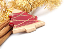 Red Christmas tree ornament with cinnamon sticks Royalty Free Stock Image