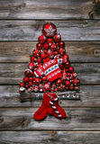 Red christmas tree of red balls for decoration. Royalty Free Stock Image