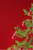Red Christmas tree, red decor Royalty Free Stock Images