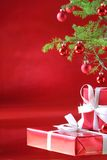 Red Christmas tree, red presents Royalty Free Stock Photography