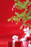 Red Christmas tree, red presents Royalty Free Stock Photos