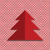 Red Christmas tree . Red and white background with circles and squares. Royalty Free Stock Photography