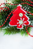 Red Christmas tree toy decoration Stock Images