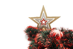 Red christmas tree toy, star and tinsel Royalty Free Stock Images