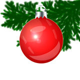 Red Christmas-tree toy on a white background. Royalty Free Stock Photography