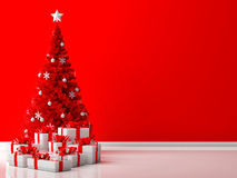 Red Christmas tree with white gifts Stock Image