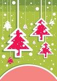 Red christmas trees. Colored illustration. EPS 10.0. RGB. Illustration can be used as template for events greeting cards or for holiday menus in food industry Royalty Free Stock Photography