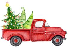 Red Christmas Truck With Pine Trees New Year Watercolor Illustration Stock Image