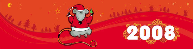 Red christmas vector banner wi. Colorful christmas vector banner for backgrounds. With rat - symbol of 2008 Royalty Free Stock Photos