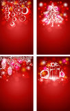 Red Christmas vector vertical backgrounds. With decorations Royalty Free Stock Photo