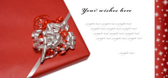 Red christmas wishcard. Red Style Greeting Card (present isolated - path included Stock Images
