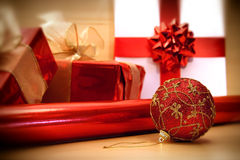 Red Christmas wrappings/ soft focus filter Stock Photos
