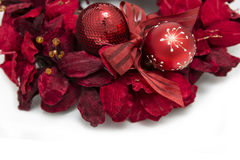 Red christmas wreath with baubles decoration Stock Images