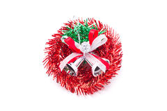 Red Christmas Wreath With Silver Bells. Stock Photos