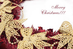 Red christmas wreath  on white background Royalty Free Stock Photo