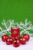 Red christmasballs with snowflakes. Red christmas balls with candle and space for text Royalty Free Stock Images