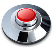Red chrome button Stock Photography