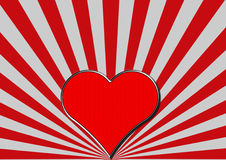Red chrome heart on red silver fan rays Stock Photos