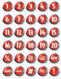 Red Chrome Round Buttons White Numbers and other Symbols. Chrome Ringed Red Buttons with Numbers and other Characters Embossed White Lettering with Drop Shadow Stock Photos