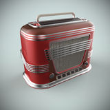 Red and chrome vintage radio render. On grey background Stock Photos