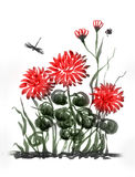 Red chrysanthemum. Flower composition. Royalty Free Stock Photos