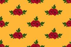 Red Chrysanthemum on Orange Yellow Background. Vector Illustration.  Stock Illustration