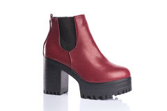 Red chunky heel boot Royalty Free Stock Photography