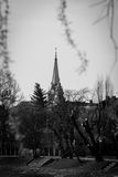 Red church in Arad, Romania in black and white. Photo taken from the park behind the church Royalty Free Stock Photo