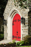 Red Church Door Stock Photo