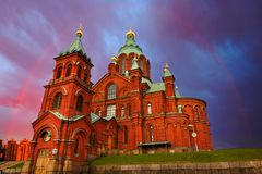 Red Church In Rainbow, Helsinki, Finland Royalty Free Stock Photography