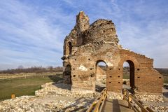 Red Church - large partially preserved late Roman early Byzantine Christian basilica near town of Perushtitsa, Bulgaria Royalty Free Stock Photo
