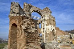 Red Church - large partially preserved late Roman early Byzantine Christian basilica near town of Perushtitsa, Bulgaria Royalty Free Stock Photography