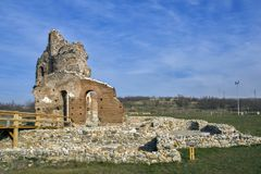 Red Church - large partially preserved late Roman early Byzantine Christian basilica near town of Perushtitsa, Bulgaria. Red Church - large partially preserved Royalty Free Stock Photography
