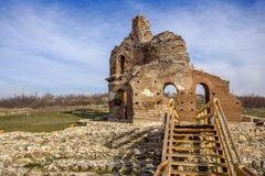Red Church - large partially preserved late Roman early Byzantine Christian basilica near town of Perushtitsa, Bulgaria. Red Church - large partially preserved Royalty Free Stock Images