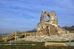 Red Church - large partially preserved late Roman early Byzantine Christian basilica near town of Perushtitsa, Bulgaria. Red Church - large partially preserved Royalty Free Stock Photos