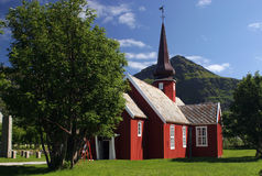 Red church at Lofoten Stock Images
