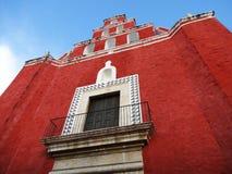 Red Church in Merida Yucatan Stock Images