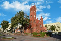 Red church in Minsk royalty free stock images