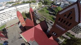 Red Church in Minsk, Republic on Belarus - Christianity stock video footage