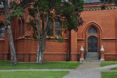 Red Church in Postorna. Czech Republic stock photos