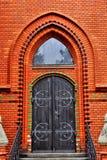 Red Church in Postorna Stock Photo