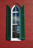 Red Church Window. Photo of red church window in Lewistown Maryland Stock Photo