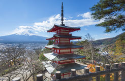 Red Chureito Pagoda and Fuji. Red Pagoda called Chureito Pagda, One of the most famous location for Fuji sightseeing on the mountain in Fujiyoshida Japan Stock Images