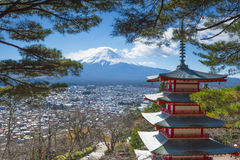 Red Chureito Pagoda and Fuji. Red Pagoda called Chureito Pagda, One of the most famous location for Fuji sightseeing on the mountain in Fujiyoshida Japan Royalty Free Stock Photo