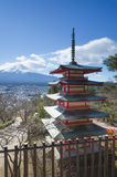 Red Chureito Pagoda and Fuji. Red Pagoda called Chureito Pagda, One of the most famous location for Fuji sightseeing on the mountain in Fujiyoshida Japan Royalty Free Stock Images